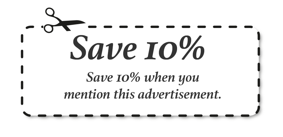 Save 10% with this coupon.